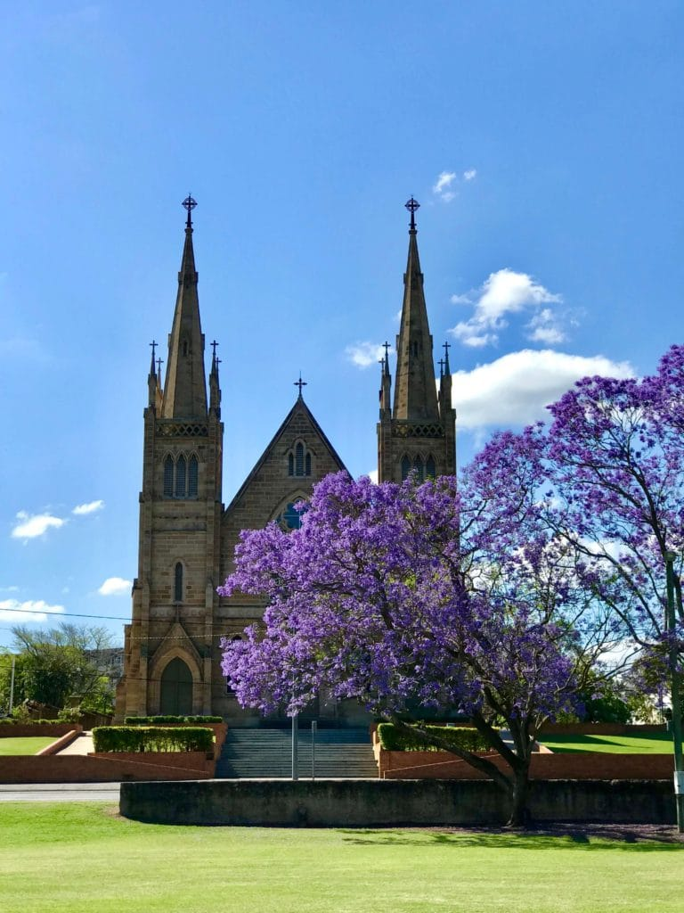 Ipswich Jacaranda trees St Mary's Church