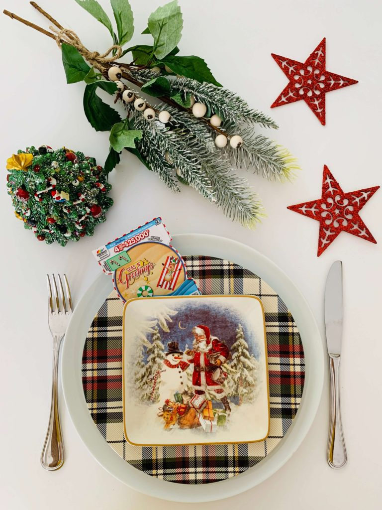 Instant Scratch It Christmas table setting