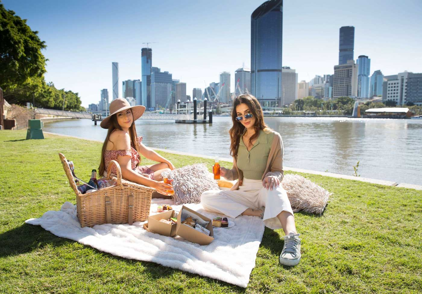Mia and Leyla Enjoying Tea in Brisbane